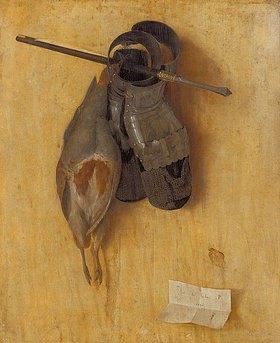 Jacopo de Barbari: Stilleben mit Rebhuhn, Eisenhandschuhen und Armbrustbolzen