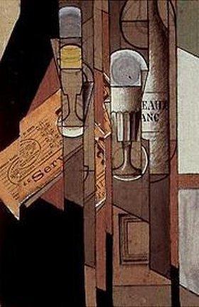 Juan Gris: Gläser, Zeitung und Weinflasche