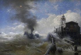 Andreas Achenbach: Ein Schlepper verlässt den Hafen von Ostende bei Flut