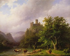 Barend Cornelisz Koekkoek: Flußlandschaft mit Schloßruine