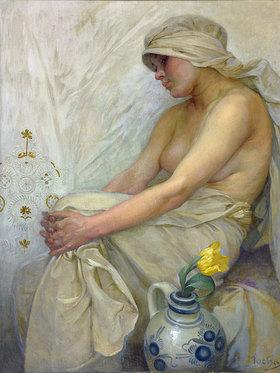 Alfons Mucha: Sitzendes Mädchen