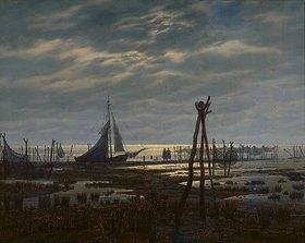 Caspar David Friedrich: Sumpfiger Strand (oder: Meeresufer bei Mondschein)