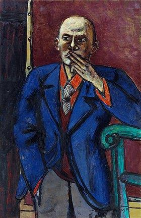 Max Beckmann: Selbstbildnis (in blauer Jacke)