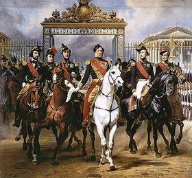 Emile Jean Horace Vernet: Louis Philippe und seine Söhne zu Pferde beim Verlassen von Schloss Versailles