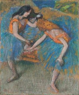 Edgar Degas: Zwei Tänzerinnen in gelben Korsagen