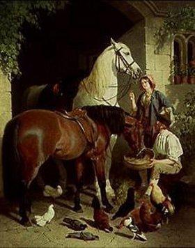 John Frederick Herring d.Ä.: Beim Füttern der Pferde