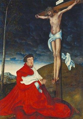 Lucas Cranach d.Ä.: Kardinal Albrecht von Brandenburg in Anbetung vor dem Gekreuzigten