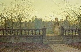 John Atkinson Grimshaw: Lady Bountifulle beim Verlassen eines Altersheimes in abendlicher Herbstsonne