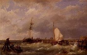 Hermanus Koekkoek: Fischerboote im Sturm an einer Mole