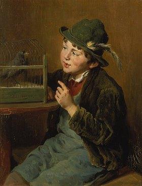 Felix Schlesinger: Bauernjunge mit Vogelkäfig