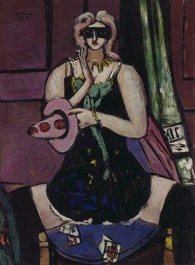 Max Beckmann: Fastnachtmaske in grün, violett und rosa (Columbine)