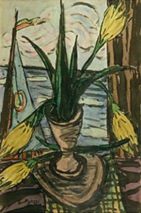 Max Beckmann: Blumenstilleben vor offenem Fenster