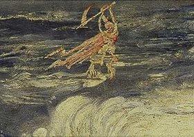 James Ensor: Detail aus Die Masken und der Tod, 1897: Der Sensenmann. Öl/Lwd