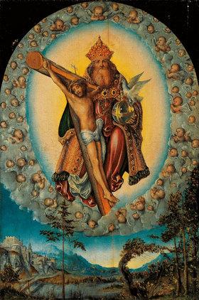 Lucas Cranach d.Ä.: Die heilige Dreifaltigkeit in einer Engelsgloriole über einer Landschaft