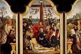 Meister von Frankfurt: Altar mit Beweinung Christi, sowie den Hll.Hugo und Katharina und Stiftern