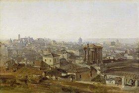 Johann Georg von Dillis: Blick von der Villa Malta in Rom auf das Kapitol