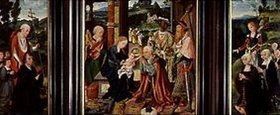Joos van Cleve: Flügelaltar Anbetung der Könige, sowie Hieronymus und Katharina mit Stifte