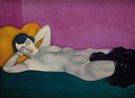 Felix Vallotton: Liegende Frau vor violettem Grund