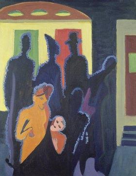 Ernst Ludwig Kirchner: Nächtliche Straße mit beleuchteten Figuren