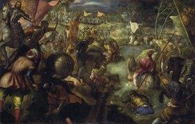 Tintoretto (Jacopo Robusti): Francesco II.Gonzaga kämpft in der Schlacht am Taro gegen Karl VIII. von