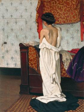 Felix Vallotton: Beim Ankleiden, Rückenakt in einem Interieur