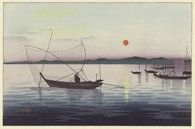 Ohara Shôson: Boote bei untergehender Sonne