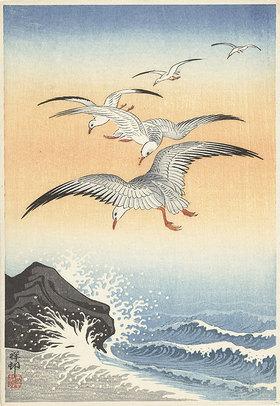 Ohara Shôson: Fünf Seemöwen über stürmischer See