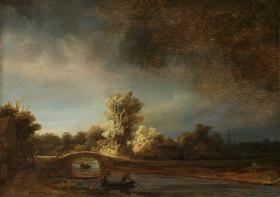Rembrandt van Rijn: Landschaft mit einer Steinbrücke