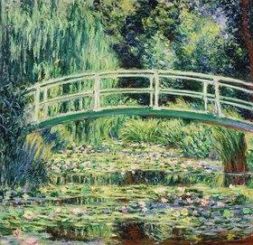 Claude Monet: Brücke in Monets Garten mit weißen Seerosen