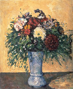 Paul Cézanne: Blumenstrauß in blauer Vase