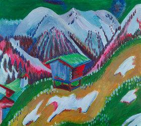 Ernst Ludwig Kirchner: Berglandschaft mit Alphütte