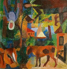 August Macke: Landschaft mit Kühen, Segelboot und Figuren