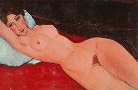 Amadeo Modigliani: Liegender Frauenakt auf weißem Kissen