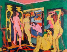 Ernst Ludwig Kirchner: Badende im Raum. 1909/10 - Überarbeitung nach