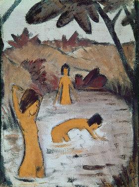 Otto Müller: Drei Badende im Teich