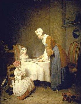 Jean-Baptiste Siméon Chardin: Das Tischgebet (oder: Die fleissige Mutter)
