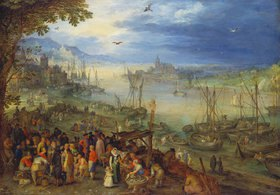Jan Brueghel d.Ä.: Fischmarkt am Ufer eines Flusses