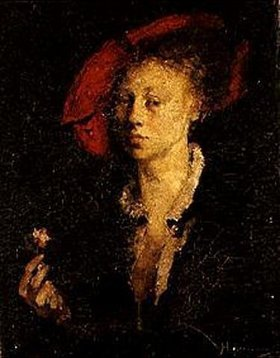 Hugo von Habermann: Dame mit rotem Barett und Nelke