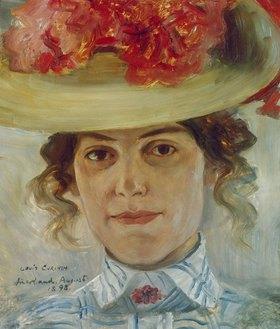 Lovis Corinth: Portrait Frau Halbe mit Strohhut