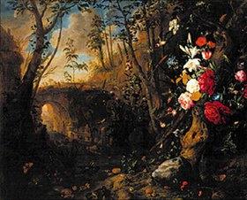 Abraham Mignon: Uferlandschaft mit Blumen