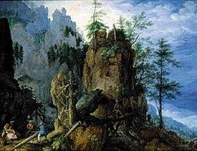 Roelant Jakobsz Savery: Gebirgslandschaft mit Holzfällern