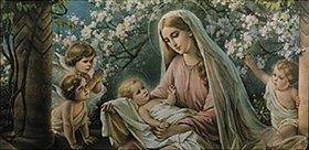 Anonym: Maria unter Kirschblüten mit Jesuskind und Engeln