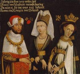 Deutsch: Ludwig II. (Der Strenge) von Bayern, 1229- 1294, mit seinen beiden Frauen Maria von Brabant und Anna von Glogau
