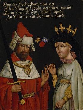 Deutsch: Herzog Otto III. von Niederbayern (Béla V. von Ungarn) mit seiner 2. Frau, Agnes von Glogau