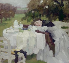 Leo Putz: Mädchen am Frühstückstisch (Toni)