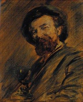 Wilhelm Busch: Selbstbildnis mit Weinglas