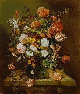 Abraham van Beyeren: Blumenstück mit Uhr