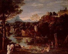 Annibale Carracci: Landschaft mit Fluß und Burg