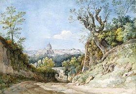 Johann Georg von Dillis: Blick auf St.Peter in Rom beim Arco Scuro