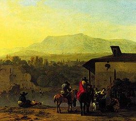Karel Dujardin: Rast vor einem italienischen Wirtshaus
